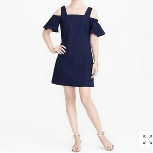 J Crew Cold Shoulder Dress In Navy, Size X-Small